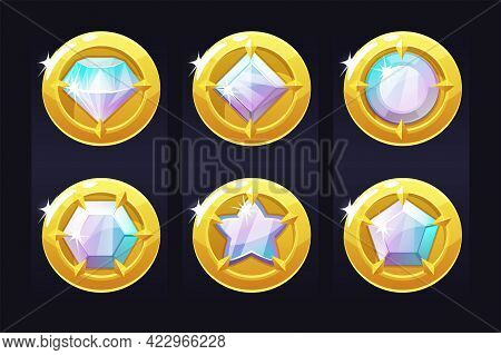 Set Gold Coins With Precious Stones For Ui Games.