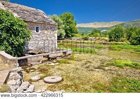 Old Stone Mill Ruins On Cetina River Source, Dalmatian Zagora Region Of Croatia