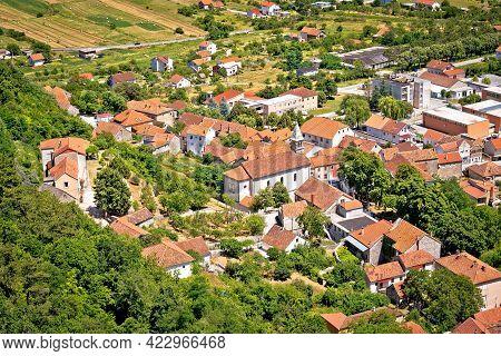 Aerial View Of Vrlika, Town In Dalmatian Zagora Region In Croatia