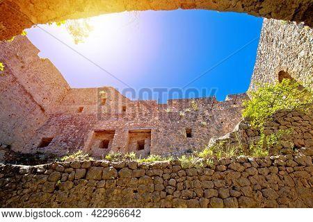 Prozor Hill Fortress Ruins Above Vrlika View, Dalmatian Zagora Region Of Croatia