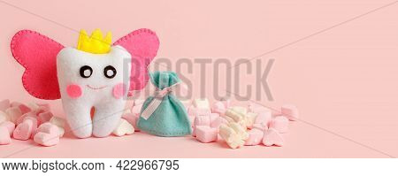 Cute Toy For Tooth Fairy Day As Funny Smiling Cartoon Character Of Tooth Fairy With Crown, Wings On