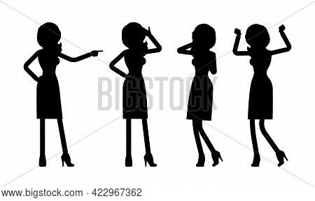 Female Black Silhouette, Businesswoman Slim Sexy Office Worker Standing. Administrative Manager Pers