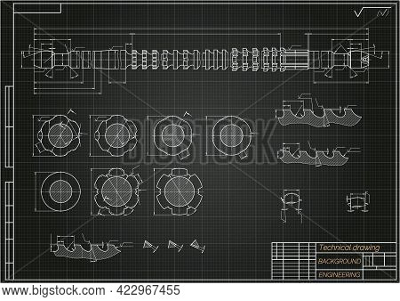 Mechanical Engineering Drawings On Blue Background. Broach. Technical Design. Cover. Blueprint. Vect