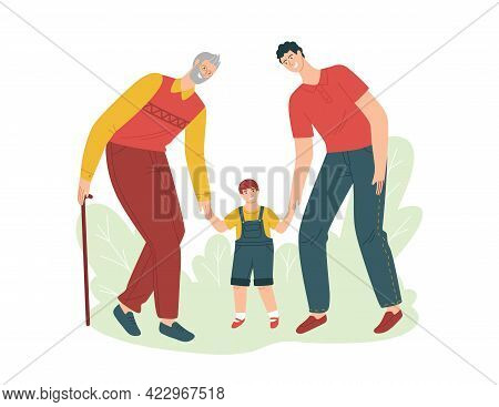 Vector Color Illustration In Flat Style Isolated On White Background. Grandfather Father And Grandso