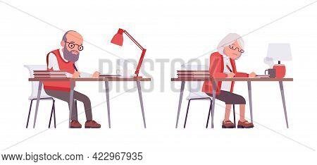 Old Teacher, Female, Male Senior Professor, University Tutor At Desk. Busy Experienced Elderly Maste