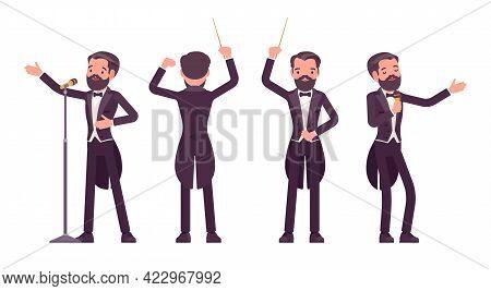 Musician, Elegant Tuxedo Man Singing, Professional Conducter With Baton. Classical Music Event, Conc