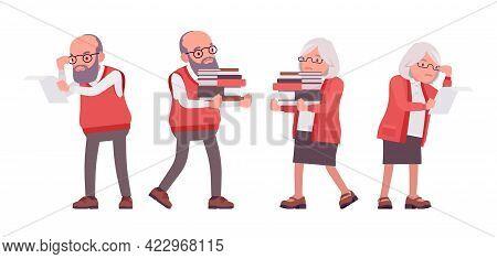 Old Teacher, Female, Male Senior Professor With Books, College Tutor. Experienced Elderly Master, Ag