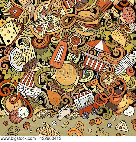 Fastfood Hand Drawn Vector Doodles Illustration. Fast Food Frame Card Design. Unhealthy Elements And