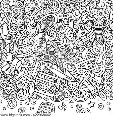 Hippie Hand Drawn Vector Doodles Illustration. Hippy Frame Card Design. Young People Elements And Ob