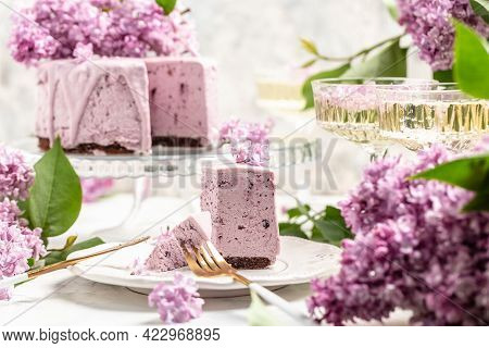 Delicious Dessert Blueberry Tart With Fresh Berries, Sweet Tasty Mousse Cake, Berry Pie. French Cuis
