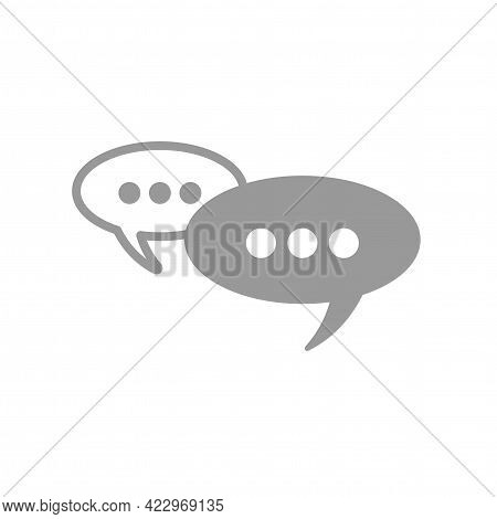 Two Grey Chat Speech Bubble With Shadow Isolated On White Background. Vector Flat Icon. Tint, Hint.