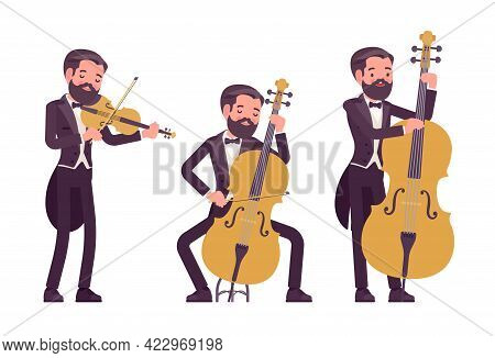 Musician, Elegant Tuxedo Man Playing Professional String Bow Instruments. Classical Music Event, Con