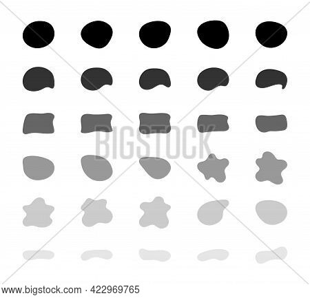 Blob Shapes Vector Set. Organic Abstract Splodge Elemets Collection. Inkblot Simple Silhouette. Blac