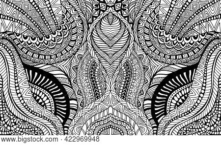 Psychedelic Coloring Page Kaleidoscope Fantastic Ornaments. Decorative Stylish Card.