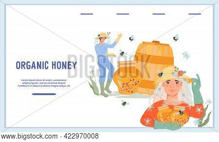 Organic Honey Website Template With Characters Of Beekeepers Producing Honey, Flat Vector Illustrati
