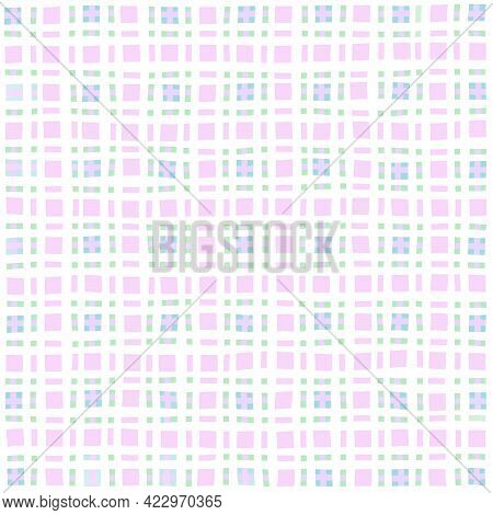 Pink White Green Lilac Vintage Checkered Background. Space For Graphic Design. Checkered Texture. Cl