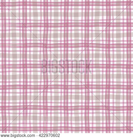 Pink Gray Beige Vintage Checkered Background. Space For Graphic Design. Checkered Texture. Classic C