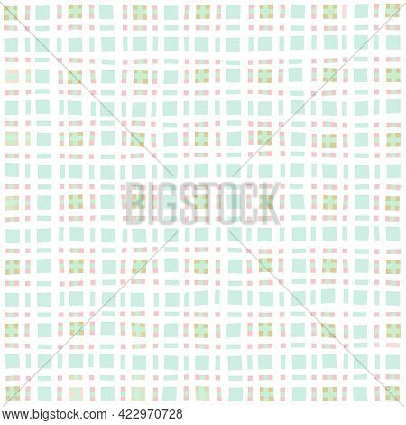 Turquoise Olive White Green Vintage Checkered Background. Space For Graphic Design. Checkered Textur