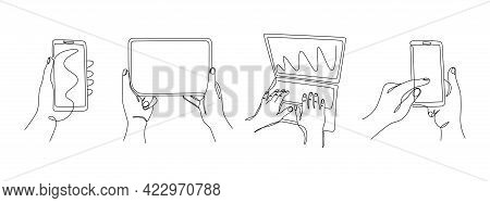Continuous Line Hands With Gadgets. One Line Female Hands Using Phones Laptop And Tablet. Vector Mon