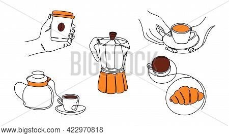 Continuous Line Coffee. One Line Morning Drink Set With Female Hands Holding Cup Of Coffee, Teapot A