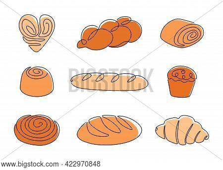 Continuous Line Bakery. One Line Bread, Pretzel, Croissant, Baguette, Bagel, Muffin, Loaf, Cinnamon