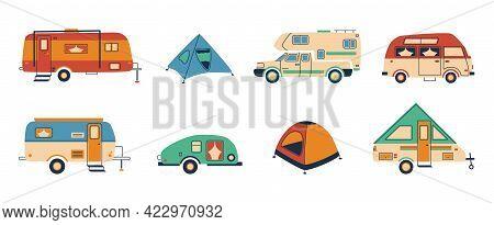Cartoon Camper. Doodle Tent And Caravan Vehicle, Camper Van For Recreational Holiday, Hand Drawn Tra