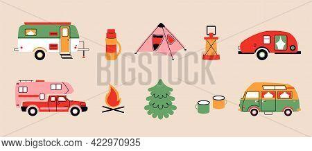 Caravan Car. Cartoon Camper Van, Tourist Tent And Trailer For Adventure Lifestyle And Active Recreat