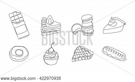 One Line Desserts. Continuous Line Sweets And Bakery, Pies Cakes Chocolate Donut And Cupcake, Monoli