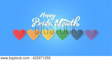 Happy Pride Month Horizontal Banner With Heart And Pride Color Flag Isolated On Blue Background. Pri