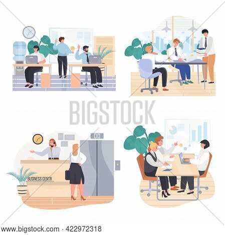 Business Offices Concept Scenes Set. Employees Work, Do Work Tasks, Meeting At Conference. Business
