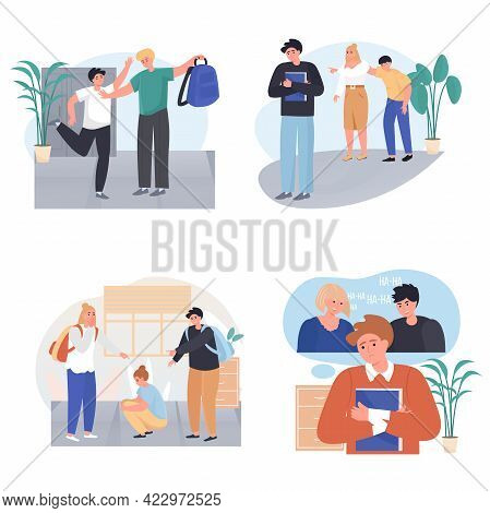 Bullying At School Concept Scenes Set. Classmates Taunting Boy Or Girl, Mocking Children. Conflicts