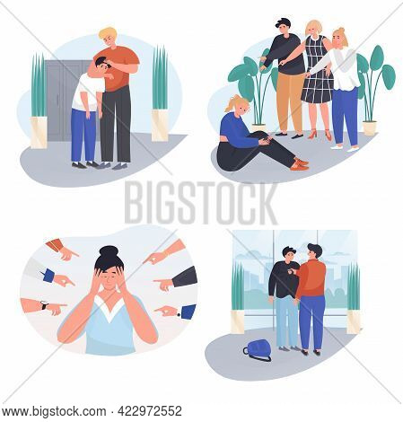 Bullying At School Concept Scenes Set. Teenagers Are In Conflict, Mocking Classmates. Stress, Commun