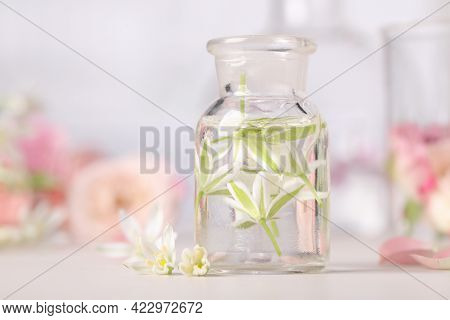 Apothecary Bottle With Ornithogalum Flowers On White Table. Essential Oil Extraction