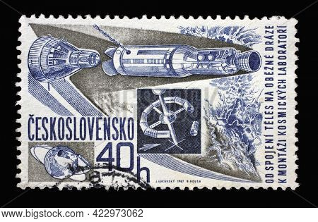 ZAGREB, CROATIA - SEPTEMBER 18, 2014: Stamp printed in Czechoslovakia shows Space craft, rocket (Gemini-Agena), Research of space series, circa 1967