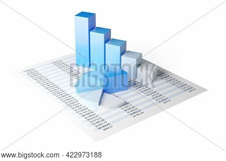 Blue Pie Chart And Bar Graph Business Diagrams On Numbers Spreadsheet Over White Background, Financi