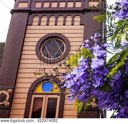 Jewish Synagogue Closeup In San Diego,california, Usa.
