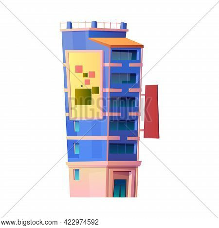 Modern Architecture And Buildings Of Contemporary City Or Town. Isolated Building With Apartments An