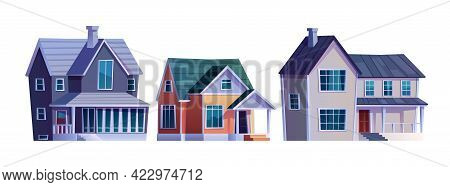 Set Of Houses With Garage, Homes Country Cottages, Cartoon Buildings Isolated Icons. Vector Family H
