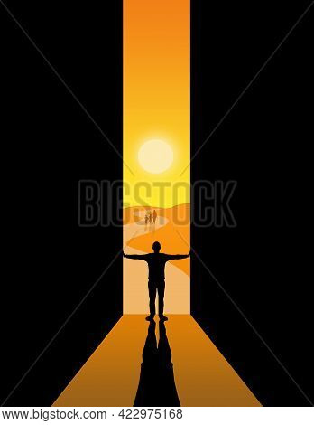 A Man Holds Open Large Doors To Welcome People Walking Toward Him In A Hot Desert Landscape In This