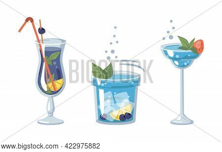 Alcoholic Or Non-alcoholic Beverages Of Blue Color, Served With Ice And Pieces Of Fruits. Strawberry