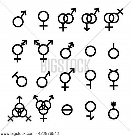 Vector Gender Symbols And Sexual Orientation Icons Set Isolated On White Background. Male, Female, T