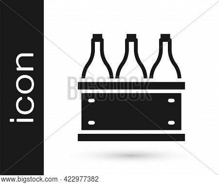 Black Bottles Of Wine In A Wooden Box Icon Isolated On White Background. Wine Bottles In A Wooden Cr