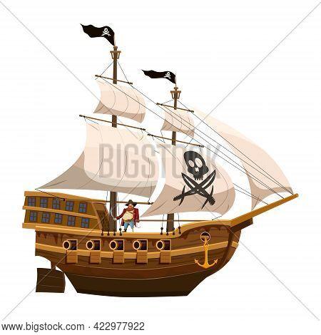 Pirate Ship Sail, Wooden Old Sailboat. Buccaneer Filibuster Corsair With Black Flag Skull, Jolly Rod