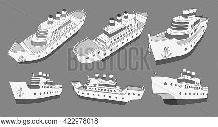 Set, Collection With Cruise Big Ship 3d Models With Three Pipes Good For Travel And Tourism Ads, Boo