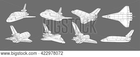 Vector Set With Spaceship, Space Shuttle. Collection With 3d Views Old Spaceship, Plane. Coloring Pa