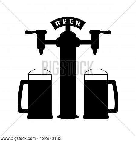Beer Pump With Set Full Beer Mugs. Pouring In Beer Glasses. Vector Drawing. Illustration On White Ba