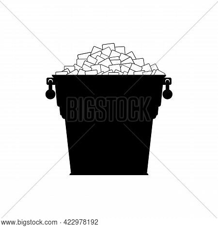 Pail With White Ice. Silhouette Small Metal Bucket With Pile Square Ice Cubes. Icon. Vector Illustra