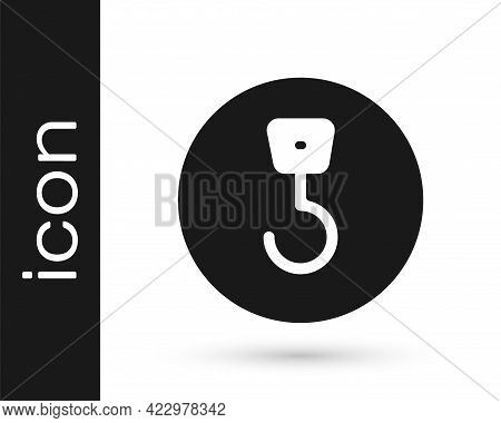 Black Industrial Hook Icon Isolated On White Background. Crane Hook Icon. Vector