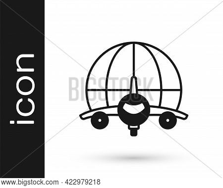 Black Globe With Flying Plane Icon Isolated On White Background. Airplane Fly Around The Planet Eart