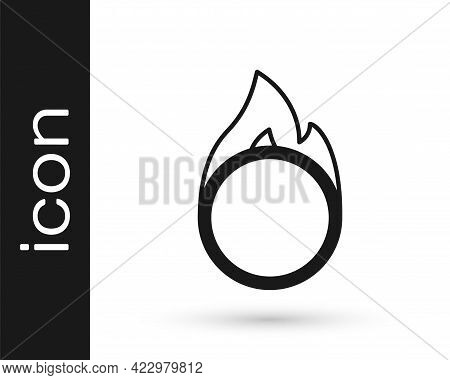 Black Circus Fire Hoop Icon Isolated On White Background. Ring Of Fire Flame. Round Fiery Frame. Vec